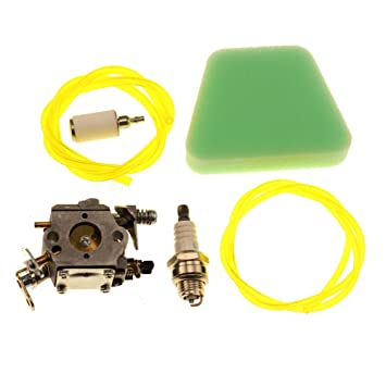 Amazon.com: HIPA Carburetor with Air Filter Fuel Line Hose Tube ...