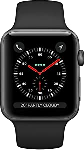 Apple Watch Series 3 (GPS + Cellular, 42MM) - Space Gray Aluminum Case with Gray Sport Band (Renewed)