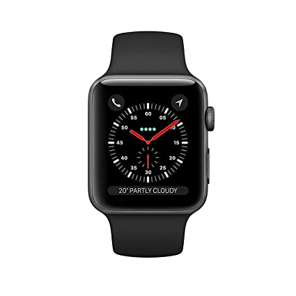 Apple Watch Series 3 42mm Smartwatch (GPS + Cellular, Space Gray Aluminum Case, Black Sport Band) (Renewed)