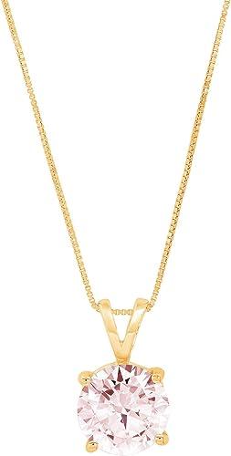 Clara Pucci 0.4 CT Brilliant Round Cut 7-Stone 14K White Gold Solitaire Pendant Box 16 Chain