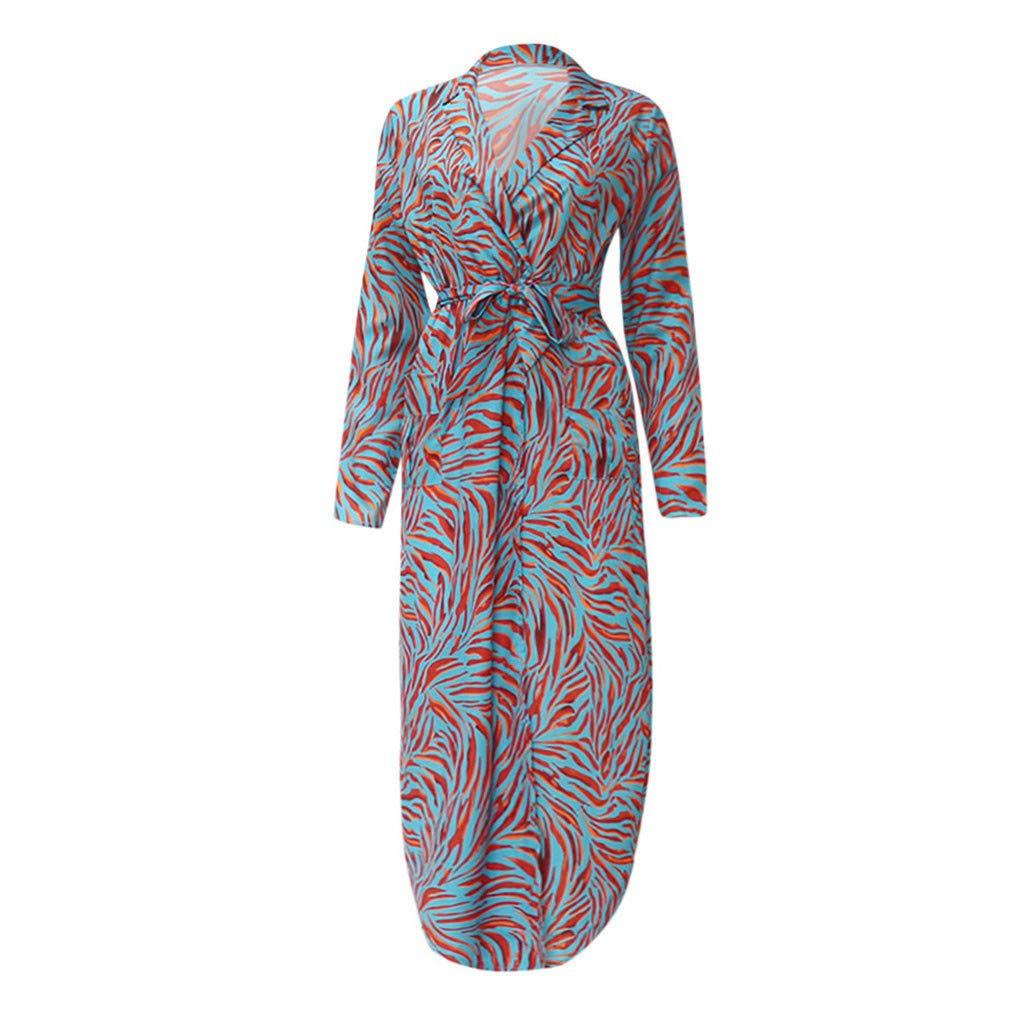 AKwell Women Casual Slit Print Long Sleeve V-Neck Lace High Waist Ladies Long Maxi Dress