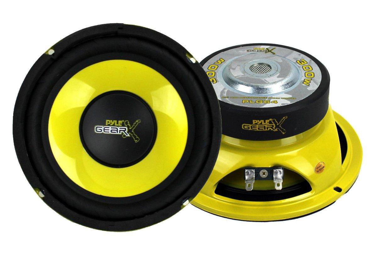 2) Pyle PLG64 6.5'' 600 Watt Car Mid Bass/Midrange Subwoofers Subs Power Speakers