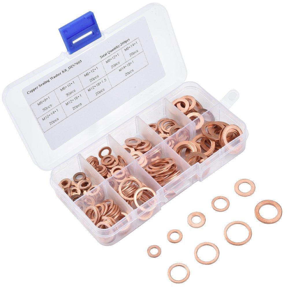 ASIV 200 Stü ck M5-M14 Kupfer Flach Unterlegscheiben Sealing Ring Unterlegscheiben Sortiment Set in einem Speicher-Box (9 Grö ß en)