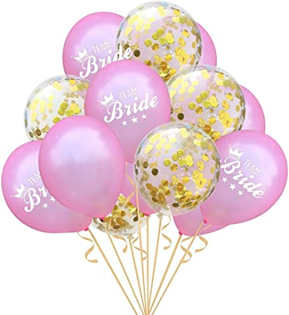 15Pcs Wedding Balloons Kit Confetti Balloon Team Bride For Home Party Decor