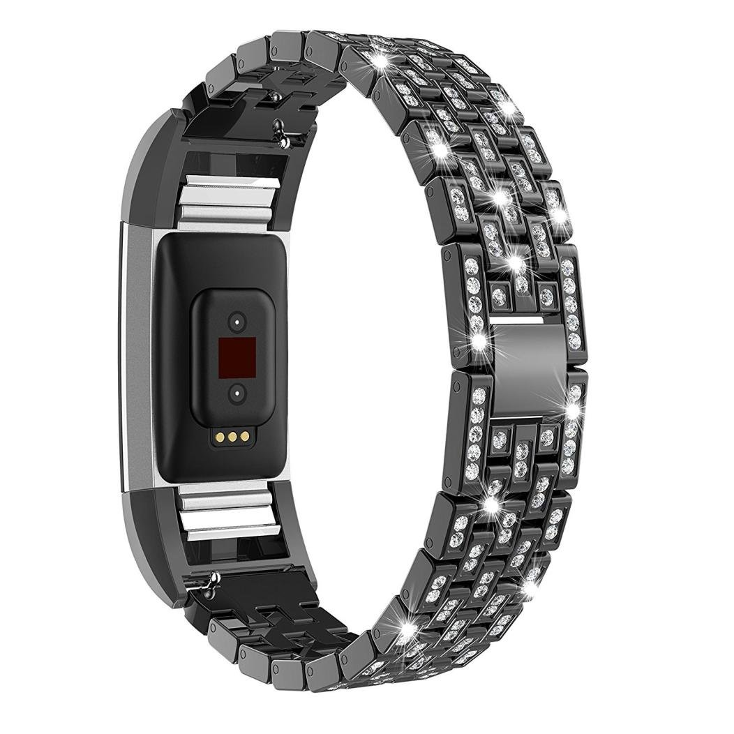 AutumnFall Fitbit Charge 2 Watch Band,Luxury Crystal Stainless Steel Metal Wristband Strap Band For Fitbit Charge 2 Smart Watch (Black)