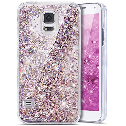 Galaxy S5 Case,Bling Glitter Case, Galaxy S5 Neo Case,PHEZEN Creative Design Glitter Shiny Quicksand Sparkle Stars and Flowing Liquid Transparent Clear Hard Case Cover for Samsung Galaxy S5 - Red