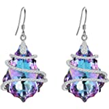 EVER FAITH 925 Sterling Silver CZ Baroque Hook Dangle Earrings Adorned with Swarovski crystals