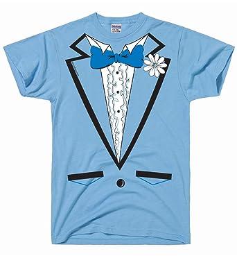 Amazon.com: DirtyRagz Men\'s Powder Blue Vintage Tuxedo Tux T Shirt ...