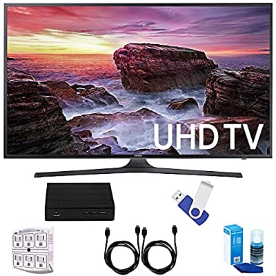 """Samsung UN40MU6290 6-Series 39.9"""" LED 4K UHD Smart TV Deluxe Accessory Bundle includes TV, TV Tuner, 16GB USB 2.0 Flash Drive, Screen Cleaner, 6-Outlet Surge Adapter, and 6ft High Speed HDMI Cable x 2"""