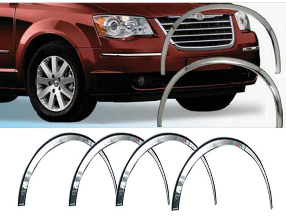 4 Piece Molded Stainless Steel Wheel Well Fender Trim Molding WZ48895 2008-2019 Dodge Grand Caravan QAA fits 2008-2016 Chrysler Town /& Country