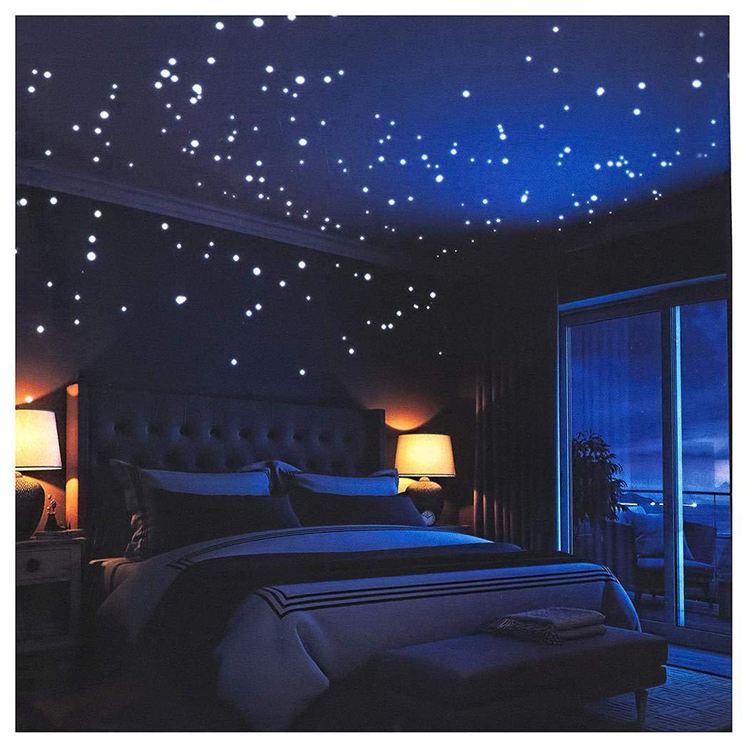 Gemini/_mall/® 100pcs Kids Bedroom Fluorescent Glow in The Dark Stars Wall Art Stickers DIY Wall Decal Green Luminous Wall Sticker Murals for Living Room Teens Children Baby Room Nursery Decoration