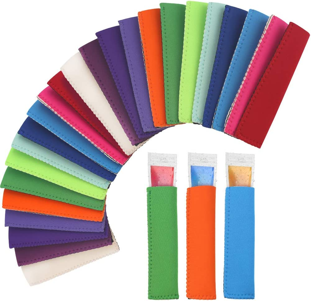 LOVEINUSA 24 pcs Freeze Pop Holders, 12 Colors Freezer Pop Sleeves Ice Pop Sleeves Popsicle Sleeves for Freezer Tubes Protect Children Use Freezing Tube