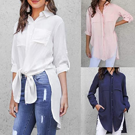 Shengdasm Camisas con Botones Largos for Las Mujeres Color ...