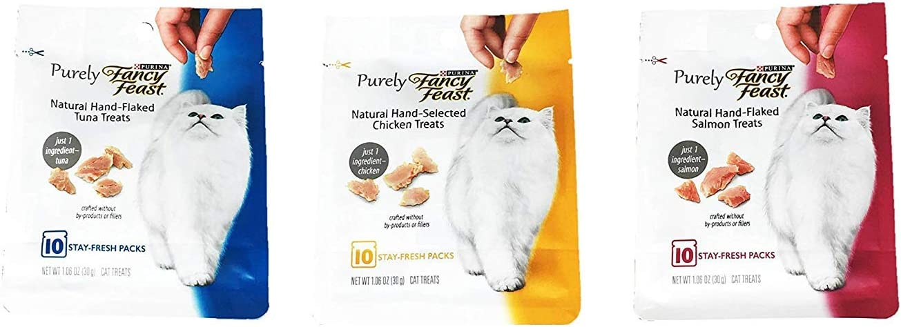 Purina Purely Fancy Feast Natural Hand-Flaked Cat Treats Variety Pack Bundle of 3 Flavors (Tuna, Chicken, and Salmon; 1.06 oz Each)
