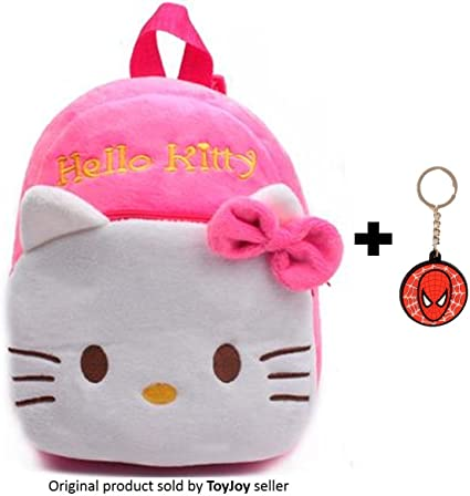 Joy Kids Toy Hello Kitty Plush Soft School Bag 2 Compartment 35 cm with Keychain (Pink)