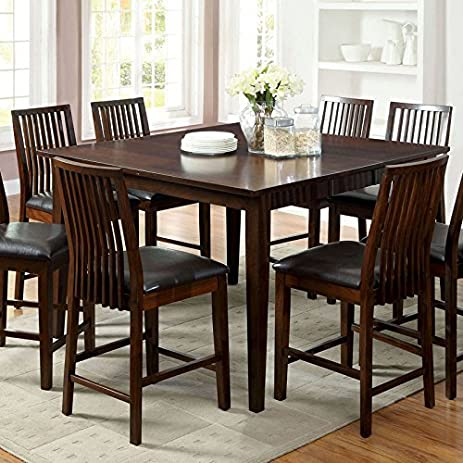 Montego Transitional Style Walnut Finish 9 Piece Counter Height Table Set