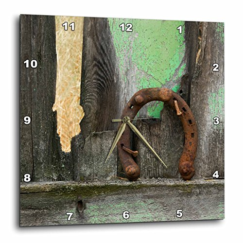 3D Rose USA - Montana. Rusty Horseshoe on Old Fence Wall Clock, 15