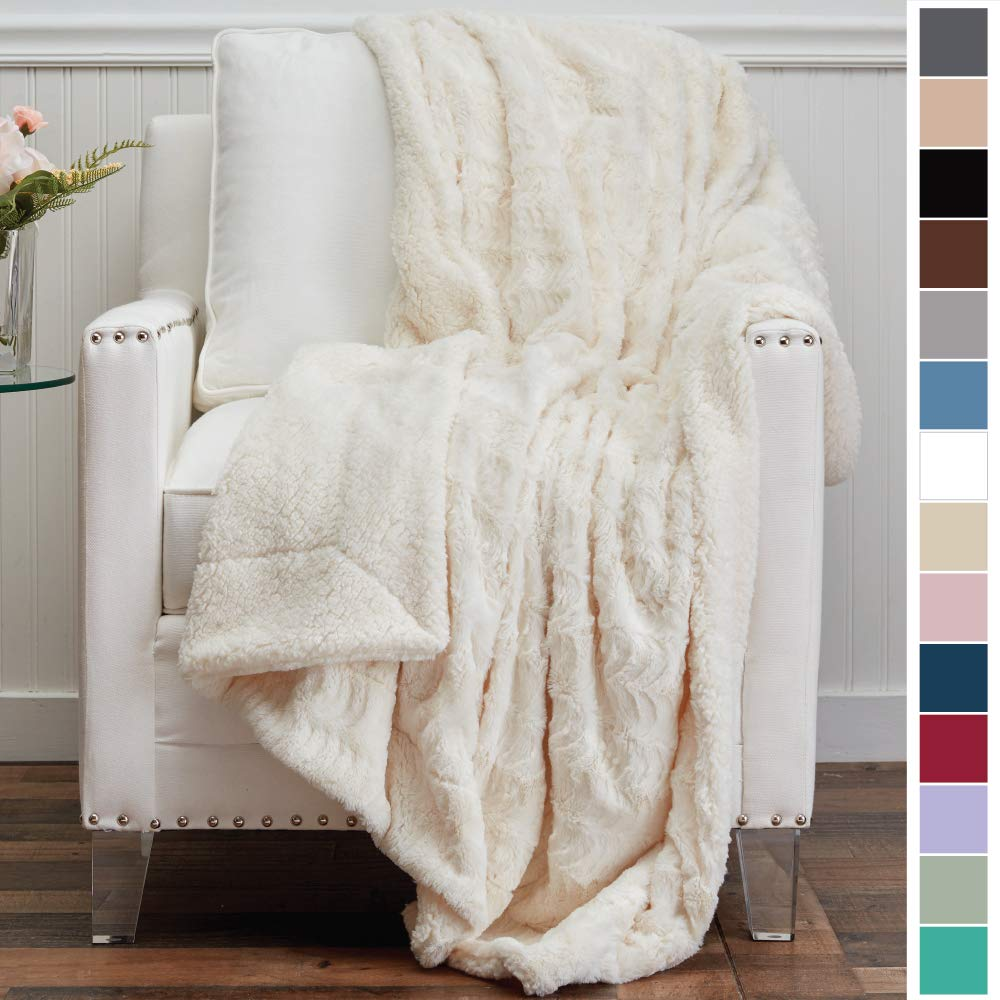 The Connecticut Home Company Luxury Faux Fur with Sherpa Reversible Kids Throw Blanket, Super Soft, Large Wrinkle Resistant Blankets, Warm Hypoallergenic Washable Couch or Bed Throws, 65x50, Ivory by The Connecticut Home Company