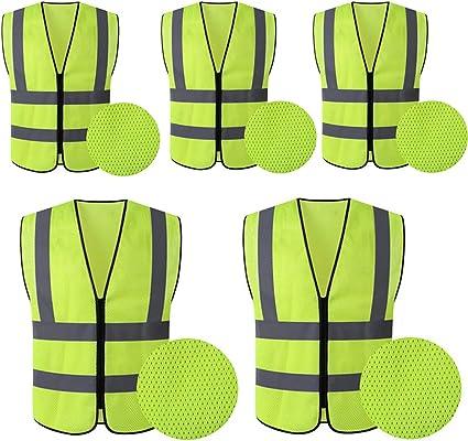 Hycoprot 5xwarnwesten Sicherheitsweste Hochsichtbare Reflektierende Netzweste Executive Manager Jacke Arbeitskleidung Reißverschluss 2 Band Sicherheit 120 Cm X 70 Cm Gelb Mesh Auto