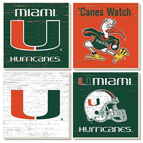 (Square Collegiate Coasters (Set of 4) (Miami))