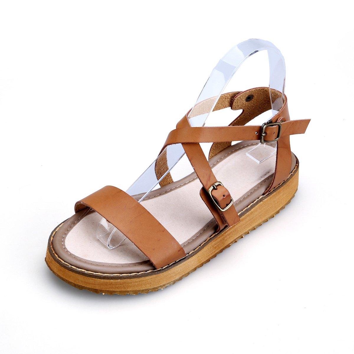 gracosy Damen Sandalen, Sommer Leder Pantoletten Flach Sandalen Damen Slip-Ons Vintage Slipper Zehentrenner Clogs Bequem Blume Sommerschuhe  42 EU|Braun-a