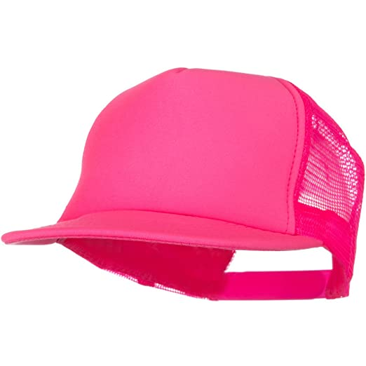 30bb4d2464799 5 Panel Neon Color Poly Mesh Cap - Neon Pink at Amazon Men s Clothing  store  Baseball Caps