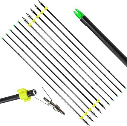 12pcs Bowfishing  fish Arrows Fiberglass OD 6mm Broadheads Compound Bow Archery
