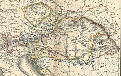 Austria-Hungary Bohemia Bosnia Balkans Dalmatia c.1850 antique map