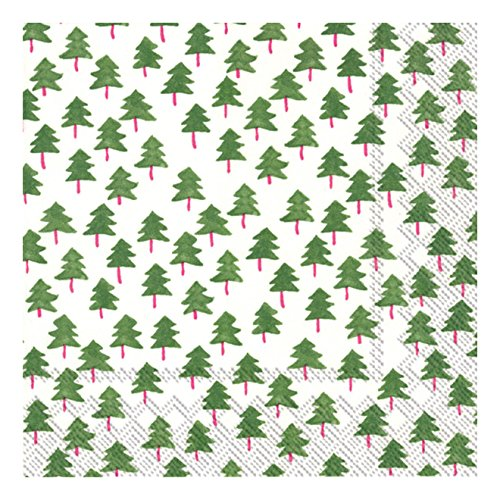 Ideal Home Range 20 Count 3-Ply Paper Lunch Napkins, Green Twee Trees