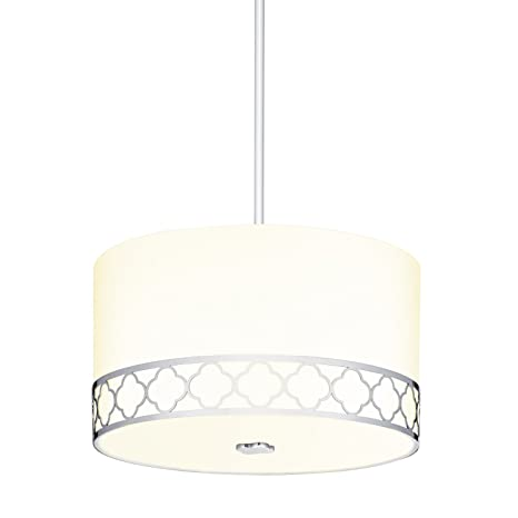 Fabric Linen Drum Pendant Light 14 Inch 3 Light Ceiling Fixture With Scalloped Nickel Metal Design And Glass Diffuser
