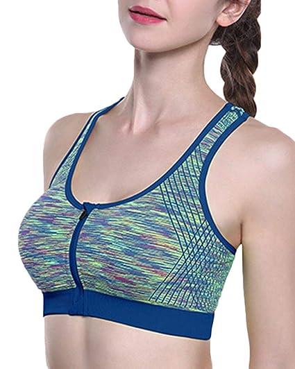 Sujetador Deportivo con Cremallera Fitness Yoga Running para Mujer: Amazon.es: Ropa y accesorios