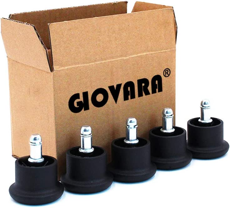 GIOVARA - Juego de 5 ruedas deslizantes para silla de oficina (11 mm x 22 mm, 50 mm de diámetro), color negro