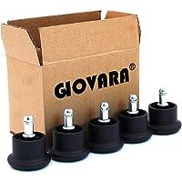 GIOVARA 5 Glide Castors voor bureaustoel wielvervanging, 11 mm x 22 mm Stem, 50 mm Diameter (zwart)