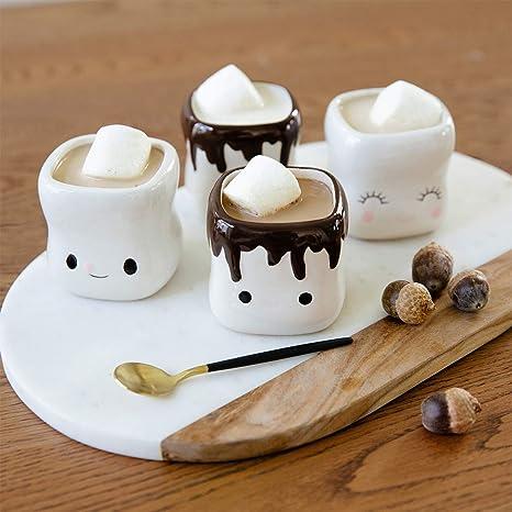 AVAFORT Marshmallow Shaped Hot Chocolate Mugs Couple Matching Mugs Anniversary Christmas Wedding Valentine's Day Gift Funny Coffee Mug Set (Marshmallow Mug)