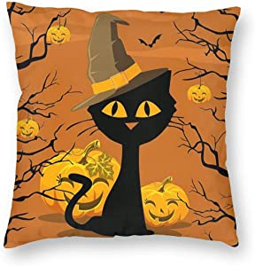 MINIOZE Orange Pumpkin Black cat Fall Halloween Print Plush Soft Square Pillow Covers Home Decor Cushion Covers Decorations Gifts Pillowcase for Indoor Sofa Bedroom Car 18 x 18 Inch