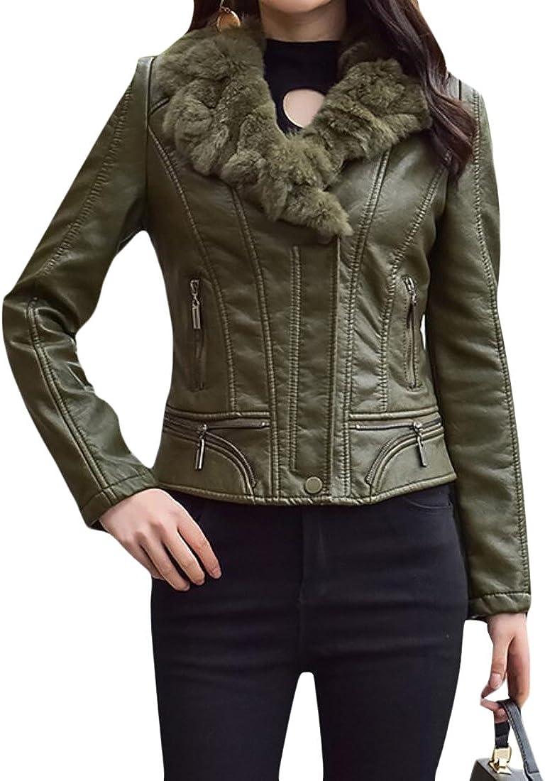 S-Fly Womens Outerwear Warm Fur Collar Pu Short Moto Jackets Trucker Coats
