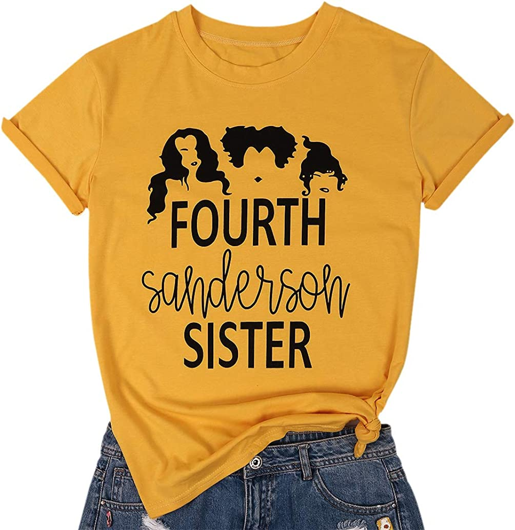 NANYUAYA Fourth Sanderson Sisters T Shirt Women Halloween Costume Letter Print Graphic Tops Tees Casual Shirt Sleeve Tees