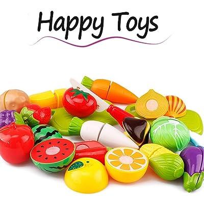 JIUZHOU Mejor Tienda de Juguetes en línea 20 Piezas de Corte de Frutas y Verduras Juguete Educativo para niños: Hogar