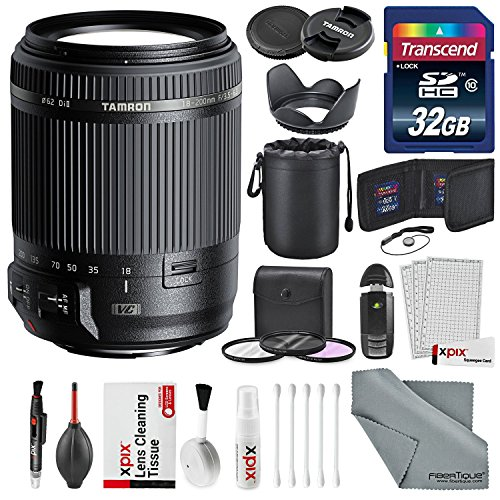Tamron 18-200mm f/3.5-6.3 Di II VC Lens for Canon EF Deluxe Accessory Bundle W/ 32 GB SD Card, Memory Card Wallet, 3Pc. Filter Kit, Lens Hood, Lens Pouch, XPIX Professional Cleaning Kit.