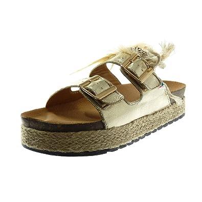 dc77f39b307fd2 Angkorly Damen Schuhe Sandalen Mule - Slip-On - Plateauschuhe - Folk -  Glänzende -