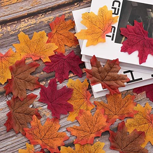 Sunm boutique 400 Pcs Artificial Maple Leaves Assorted Mixed Fall Colored Maple Leaves for Wedding Festival Party Garden Thanksgiving Autumn Decoration]()
