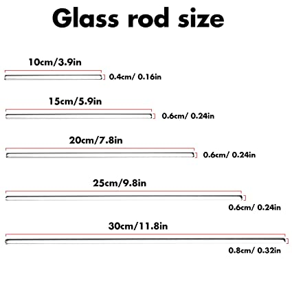 PSC 1007714AM Glass Stirring Rod Pack of 5 Borosilicate Glass 0.5 Height 12 Length Assorted Mix 2 Wide