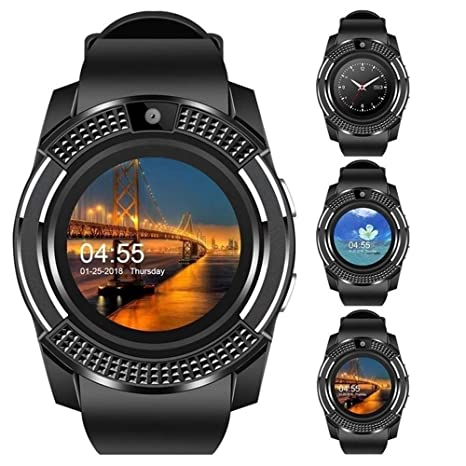 Amazon.com : WTGJZN V8 Smart Watch Bluetooth Touch Screen ...