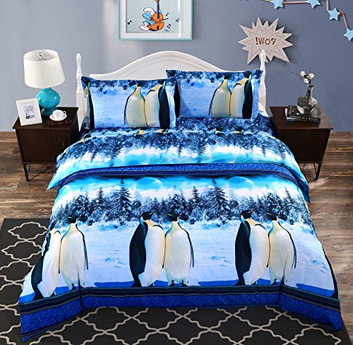Wowelife Penguin Print Pattern Bedding Sets Snow Scene 3D Duvet Cover Set Polyester 4 PCS For Children and Adults(Comforter Not Included),Twin