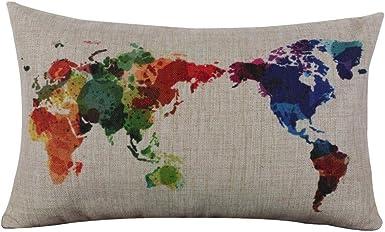 Fossrn Funda Cojin 30 x 50 Mapa del mundo Funda de almohada Lino Fundas De Cojines para Sofa Jardin Cama Decoración del hogar (01): Amazon.es: Ropa y accesorios