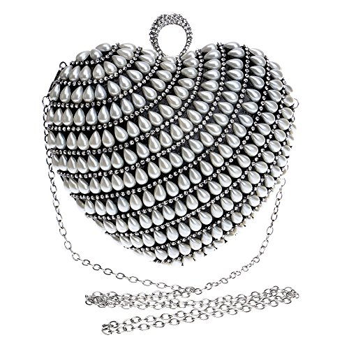 Symbolove Womens Pearly Fashion Evening-handbags Cabinet Evening Party Wedding Heart-Shaped Clutch Bag For Womens-C1