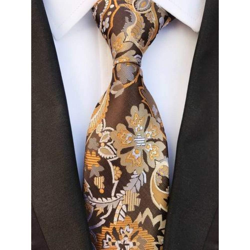 WOXHY Corbata Nuevo diseño Folral Brown Beige Ties Jacquard Tejido ...