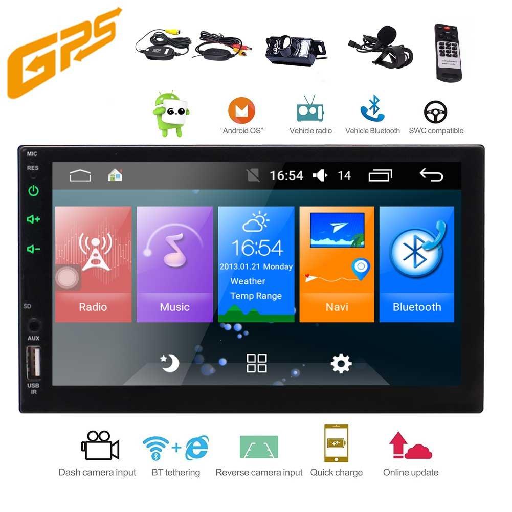 Eincar Androidのカーステレオ7インチ1ギガバイトのRAMと16ギガバイトのフラッシュオーディオラジオHDビデオプレーヤー内蔵のWi-Fi、ブルートゥースAUX AM/FM/RDS(なしDVDプレーヤー)+無料ワイヤレスバックアップカメラと2ディンヘッドユニットGPSナビゲーション B07D7N8J9X