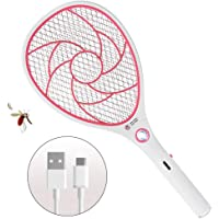 Bug Zapper Racket,Electric Fly Swatter,Rechargeable Mosquito,Fly Killer - USB Charging - 3000 Volt - Bright LED Light - Unique 3-Layer Safety Mesh Safe (Red)