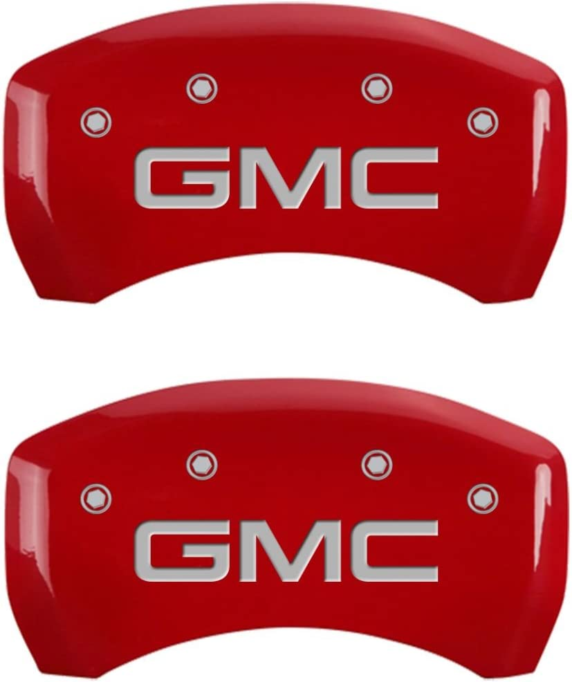 MGP Caliper Covers 34209SGMCRD Red Powder Coat Finish GMC Engraved Caliper Cover with Silver Characters, Set of 4